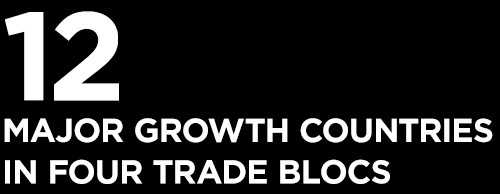 12 major growth countries in four trade blocs